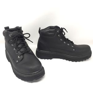 Skechers Pilot Genuine Leather Black Ankle Boots